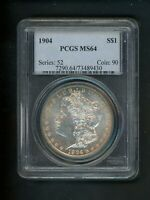 1904 US MORGAN SILVER DOLLAR $1.00 $1 NGC MINT STATE 64 UNC ORIG. SURFACES GOLDEN TONING