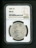 1899 US MORGAN SILVER DOLLAR $1.00 $1 NGC MINT STATE 62 UNC ORIG. SURFACE PATINA FROSTED