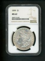 1899 US MORGAN SILVER DOLLAR $1.00 $1 NGC MINT STATE 62 UNC BRIGHT WHITE SPOT FREE