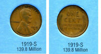 LINCOLN HEAD WHEAT CENT 1919 S AVERAGE CIRCULATED UNITED STATES 1 PENNY COIN B6