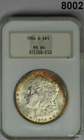 1904 O MORGAN SILVER DOLLAR NGC CERTIFIED MINT STATE 64 AMBER- BLUE COLORS 8002