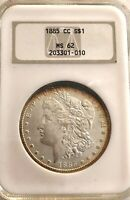 LOOK____1885- CC- CARSON CITY NGC- MINT STATE 62 U.S  MORGAN SILVER DOLLAR