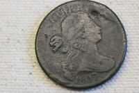 1807/6 LARGE CENT, DRAPED BUST F DETAIL,  COPPER