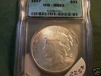 1927 MINT STATE 63 ICG PEACE SILVER DOLLAR 1927 SLABBED