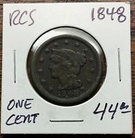 1848 BRAIDED HAIR LARGE COPPER CENT FINE / STRONG DATE