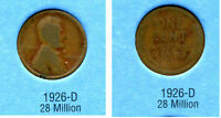 LINCOLN HEAD WHEAT CENT 1926 D AVERAGE CIRCULATED UNITED STATES 1 PENNY COIN B6