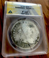 1799 DRAPED BUST SILVER DOLLAR  ANACS F12 DETAILS