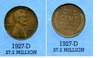 LINCOLN HEAD WHEAT CENT 1927 D AVERAGE CIRCULATED UNITED STATES 1 PENNY COIN B4