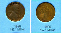 LINCOLN HEAD WHEAT CENT 1926 P AVERAGE CIRCULATED UNITED STATES 1 PENNY COIN B6