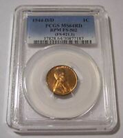 1944 D/D LINCOLN WHEAT RPM VARIETY FS-502 CENT MINT STATE 64 RED PCGS
