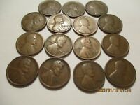 15, 1911D -1930D, LINCOLN WHEAT CENTS, MISSING THE 1914D, 1922D,& 1924D, G/F,