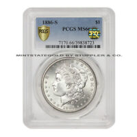 1886-S $1 SILVER MORGAN PCGS MINT STATE 66 PQ APPROVED SAN FRANCISCO GEM DOLLAR COIN