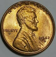1942 D LINCOLN WHEAT CENT PENNY. CHOICE BEAUTIFUL UNCIRCULATED. DENVER MINT.