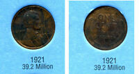 LINCOLN HEAD WHEAT CENT 1921 P AVERAGE CIRCULATED UNITED STATES 1 PENNY COIN B6
