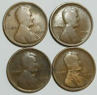 1909  4 LINCOLN WHEAT ONE CENT PENNY 1 LOT OF 4 PENNIES. PHILADELPHIA MINT