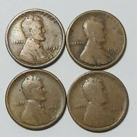 LINCOLN WHEAT CENT LOT OF 4 PENNIES. 1917-S, 1919-S, 1920-D AND 1920-S.