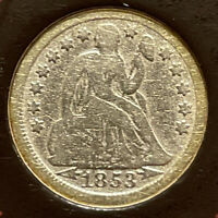 1853 SEATED LIBERTY DIME WITH ARROWS IN PRESENTATION & INFORMATION FOLDER