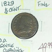 1829 CLASSIC HEAD HALF CENT  FINE  GENTLE CLEANING  COINREF D/D