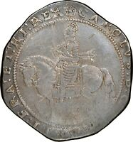 1642 1643 KING CHARLES I ENGLAND UK BRITAIN SILVER CROWN TRURO MINT S 3045 VF25