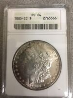 1885-CC MORGAN SILVER DOLLAR MINT STATE 64