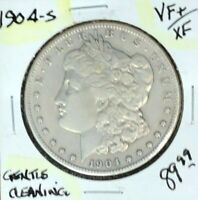 1904-S MORGAN SILVER DOLLAR  VF/EXTRA FINE   GENTLE CLEANING  COIN REF D/D