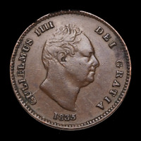 GREAT BRITAIN. WILLIAM IV 1/3 FARTHING 1835 FOR USE IN MALTA