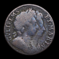 GREAT BRITAIN. WILLIAM III AND MARY FARTHING 1694