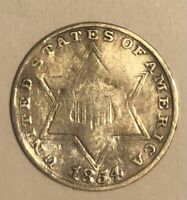 1854 THREE CENT SILVER TYPE 1 3C US COIN   3642R8