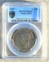 SOUTH AFRICA SILVER 2 SHILLINGS 1937 PROOF PCGS PF65 TONED K