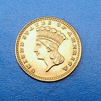 U.S. INDIAN PRINCESS LARGE HEAD 1883 ONE DOLLAR GOLD COIN TY
