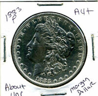 1883 P AU MORGAN DOLLAR 100 CENT  ABOUT UNCIRCULATED 90 SILVER US $1 COIN 1274