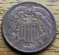 1865 CIVIL WAR ERA TWO CENT PIECE US COPPER VERY NICE OLD CO