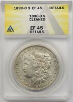 1890-O $1 ANACS EXTRA FINE  EF 45 DETAILS CLEANED MORGAN SILVER DOLLAR