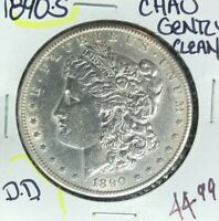 1890-S MORGAN SILVER DOLLAR  CH/AU  GENTLY CLEANED  COIN REF D/D