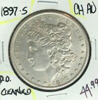 1897-S MORGAN SILVER DOLLAR  CH/AU  CLEANED  COIN REF D/D