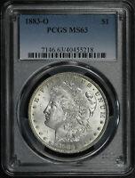 1883-O MORGAN DOLLAR PCGS MINT STATE 63 FIERY REVERSE TONING
