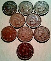 LOT OF 9 OLD INDIAN HEAD PENNIES1800'S TO 1900'S COIN / LOT
