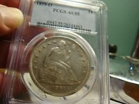 1859 O LIBERTY SEATED DOLLAR _ PCGS AU 55 _ NO PROBLEMS HERE