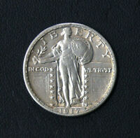 1917 D TYPE 2 KEY DATE VFXF STANDING LIBERTY SILVER QUARTER