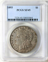 1893 P MORGAN SILVER DOLLAR PCGS EXTRA FINE 45, KEY DATE AND