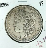 1883 MORGAN SILVER DOLLAR  VF  COIN