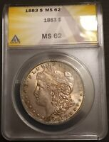1883 MORGAN SILVER DOLLAR MINT STATE 62