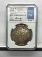 1881 O $1 MORGAN SILVER DOLLAR NGC MINT STATE 63 GREAT SOURTHERN TREASURY HOARD