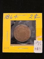 1864 LARGE MOTTO TWO CENT PIECE AU WITH SOFT TONING