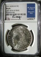 1921  ED MOY SIGNED  MORGAN DOLLAR 100TH ANNIVERSARY LSAT YEAR NGC MINT STATE 64
