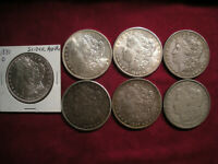 LOT OF 6 MORGAN SILVER DOLLARS 1881-O 1884-O 1890 1896 1887 1900 1921-D AU BU