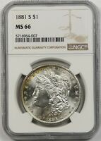 1881-S $1 NGC MINT STATE 66 MORGAN SILVER DOLLAR