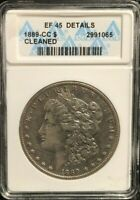 ANACS 1889-CC EXTRA FINE  45 DETAILS, CLEANED MORGAN DOLLAR