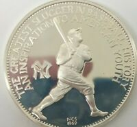1969 NCS FRANKLIN MINT GEORGE HERMAN BABE RUTH SILVER PROOF MEDAL