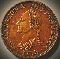 1783 NO BUTTON WASHINGTON AND INDEPENDENCE COLONIAL TOKEN RD/BN
